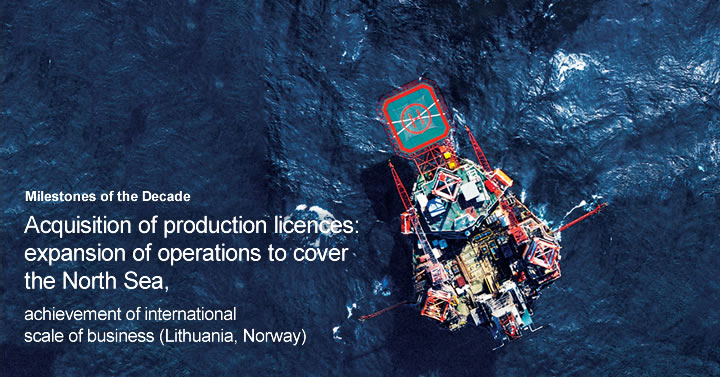 Acquisition of production licences: expansion of operations to cover the North Sea